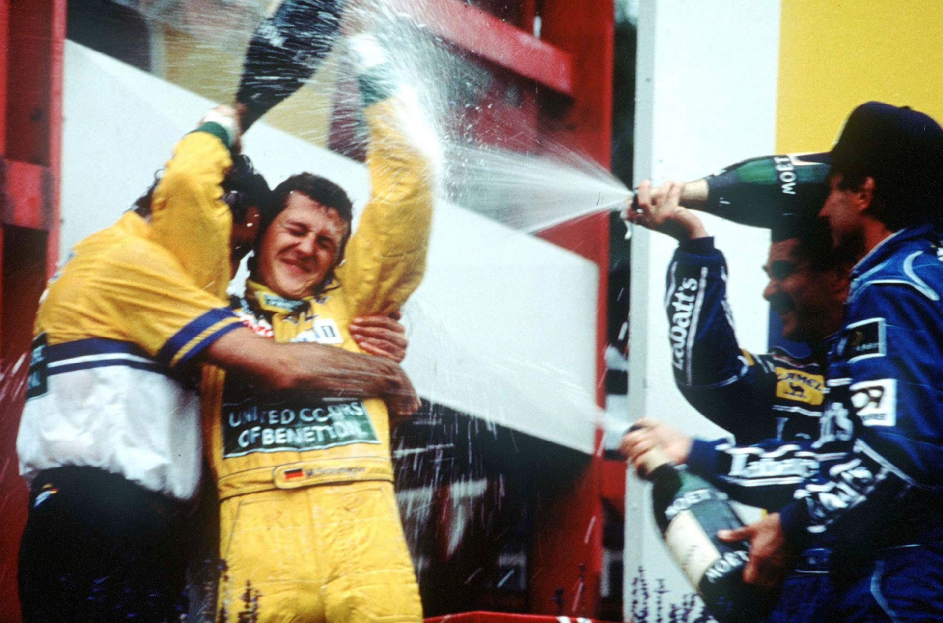 Michael Schumacher celebrates his first Grand Prix victory at Spa on August 30, 1992. Photograph: Getty Images.