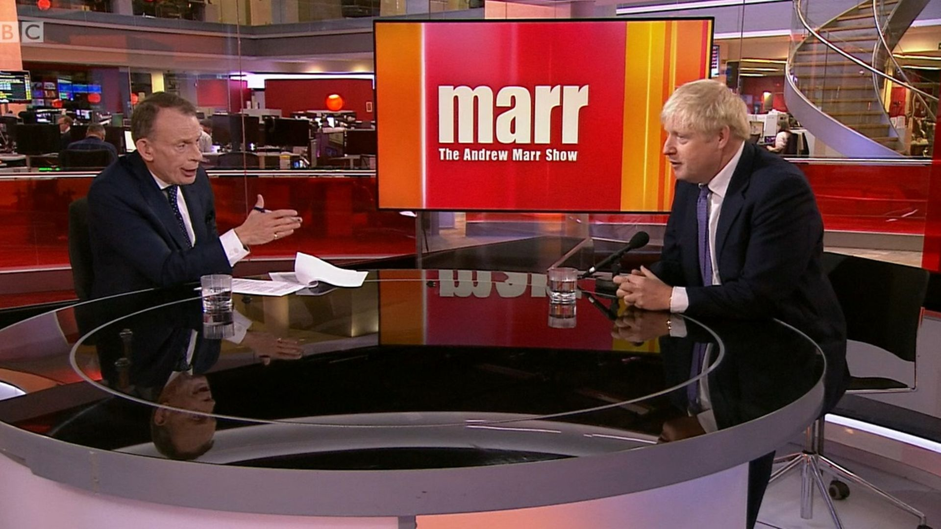 Boris Johnson is interviewed by Andrew Marr - Credit: BBC