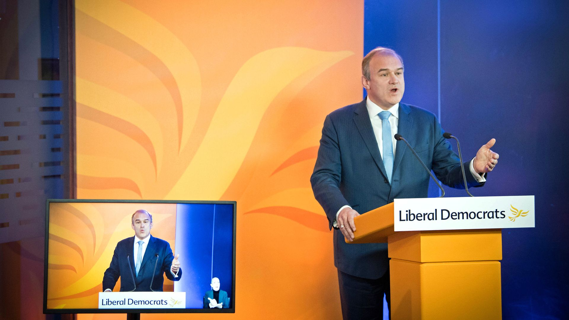 Liberal Democrat leader Sir Ed Davey delivers his keynote speech during the party's online conference - Credit: PA