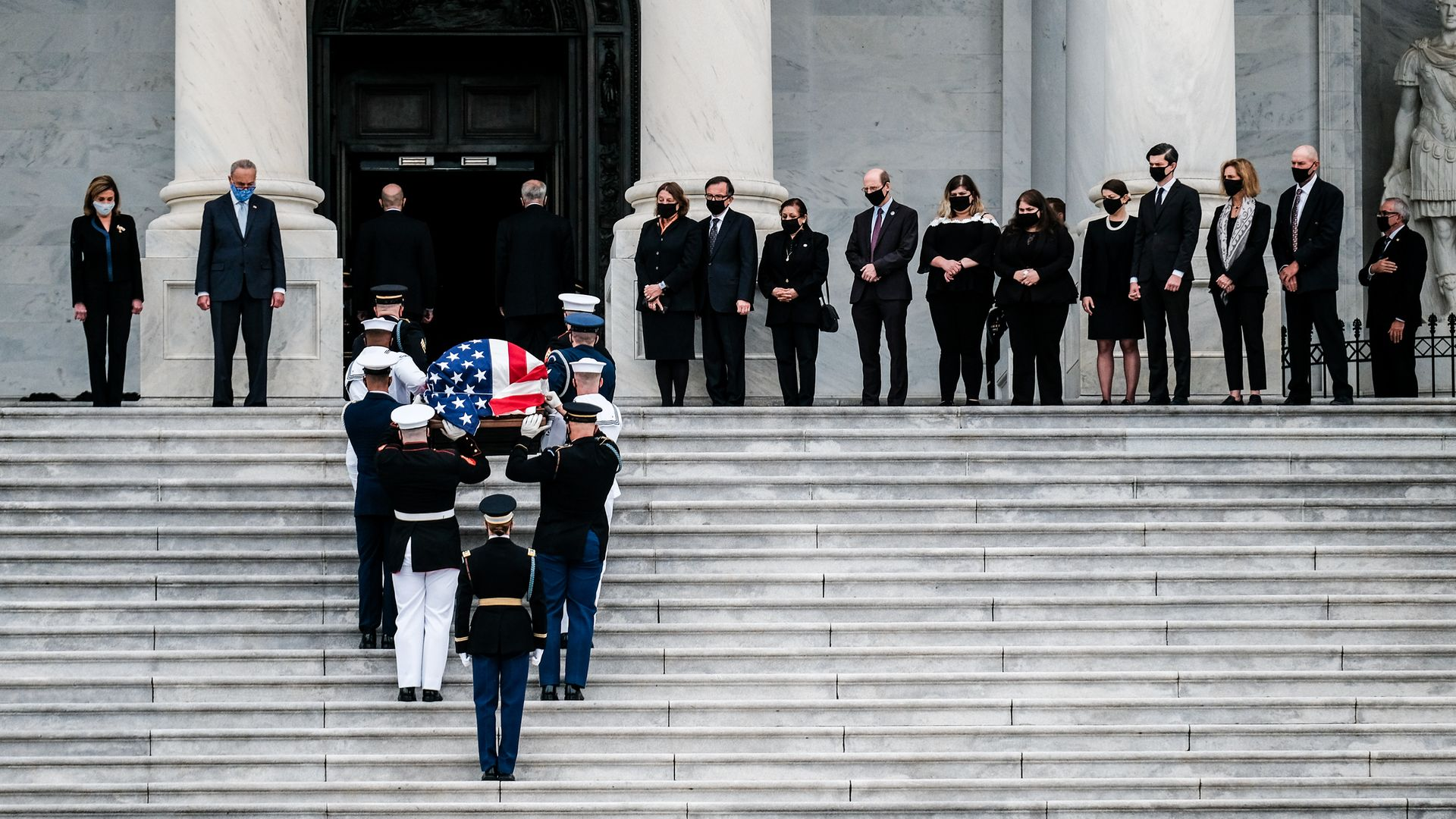 A military honour guard team carries the casket of the late Supreme Court Justice Ruth Bader Ginsburg into the U.S. Capitol to lie in state - Credit: Getty Images
