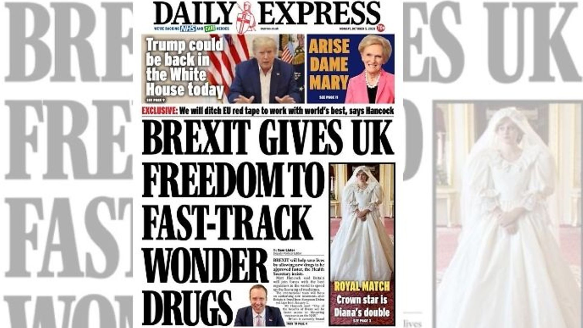 """Daily Express front claims Brexit could help """"save lives"""" - Credit: Twitter"""
