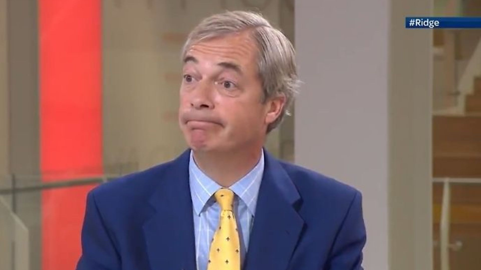 Nigel Farage warned Brexiteers won't be 'satisfied' if Britain continues to be bound to state aid provisions - Credit: Twitter