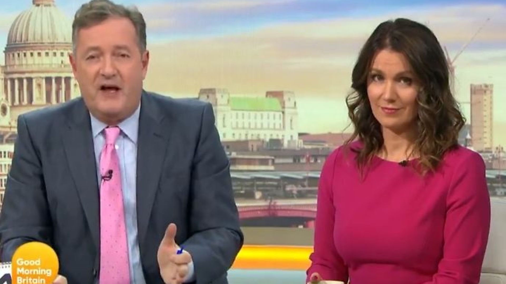 Good Morning Britain presenters Piers Morgan (L) and Susanna Reid - Credit: Twitter, GMB