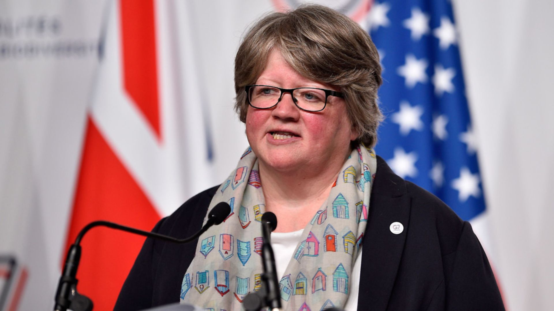 Therese Coffey, seen delivering a speech at a G7 environmental summit, is a master of the meaningless - Credit: AFP/Getty Images