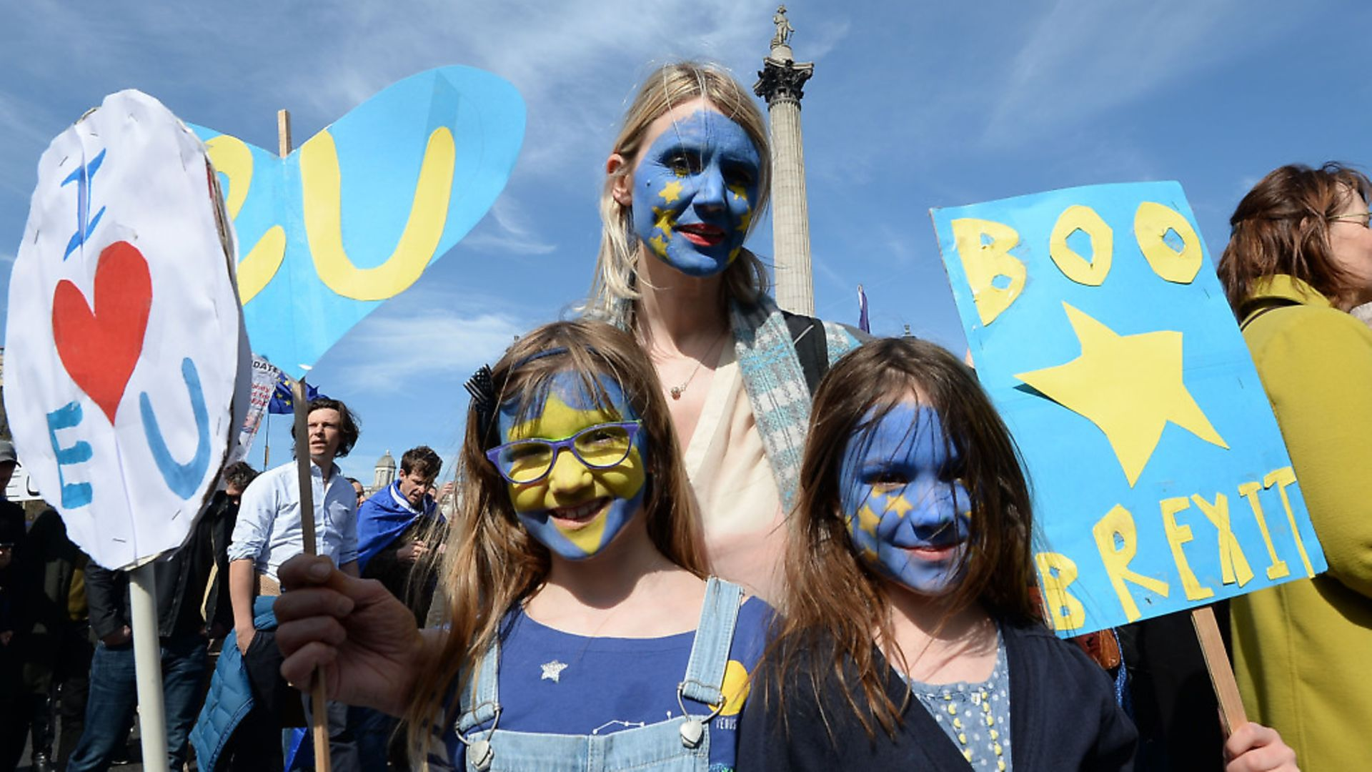 Protesters at the Pro-Remain March for Europe event John Stillwell/PA Wire - Credit: PA