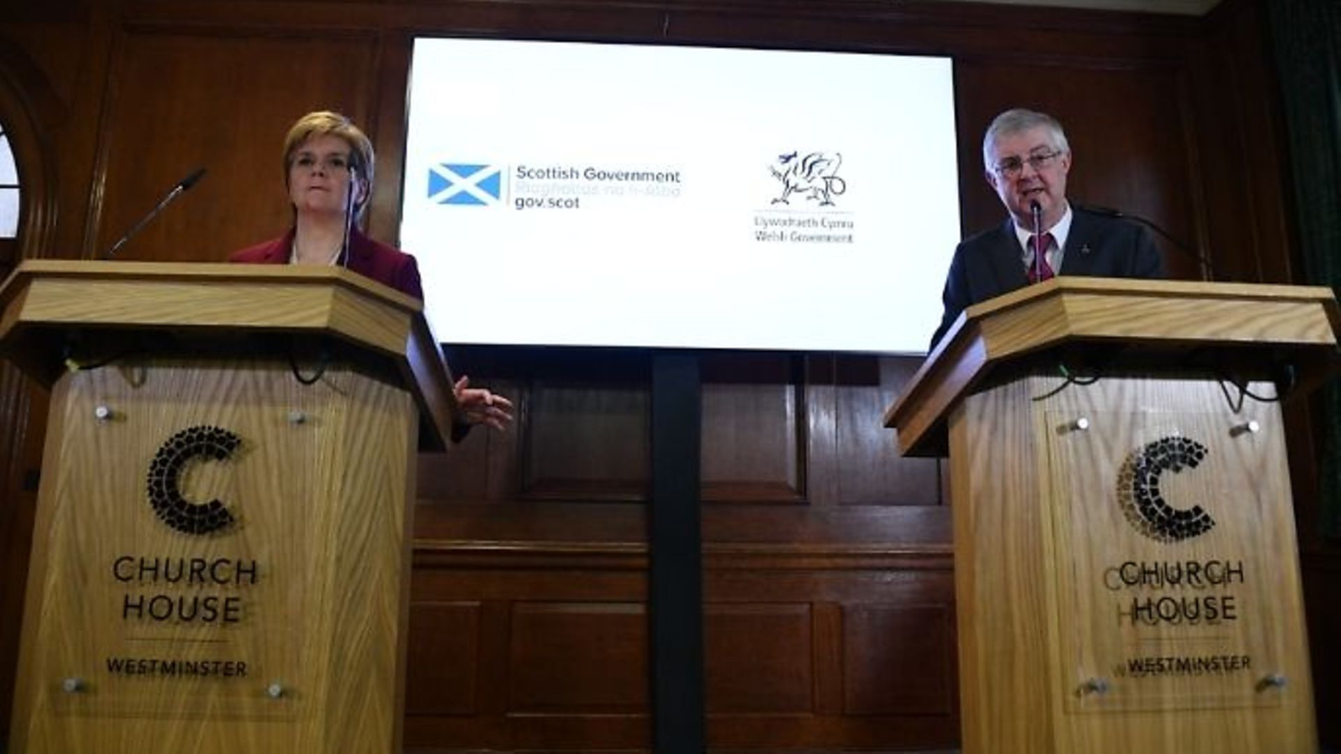 Scottish first minister Nicola Sturgeon and Welsh first minister Mark Drakeford during a joint press conference at Bishop Partridge Hall, Westminster. - Credit: Daniel Leal-Olivas/PA Archive/PA Images