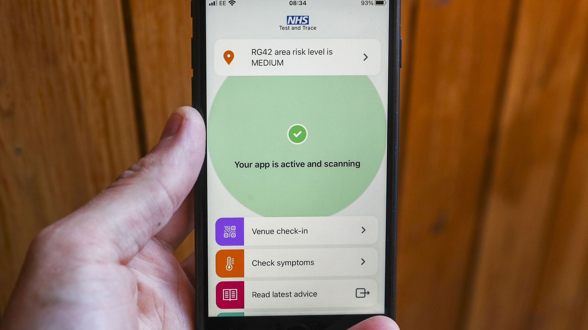 The new NHS Covid-19 mobile phone application on an iPhone, after the app went live on Thursday morning. - Credit: PA