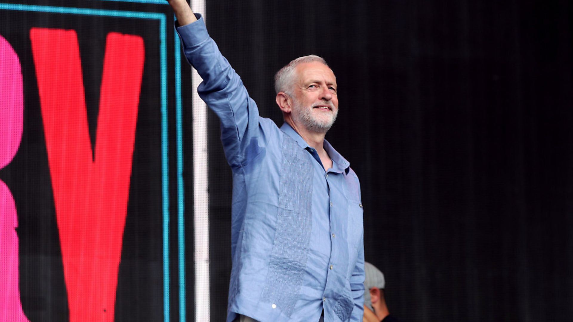 Labour leader Jeremy Corbyn speaks to the crowd from the Pyramid stage at Glastonbury Festival, at Worthy Farm in Somerset. - Credit: PA Wire/PA Images