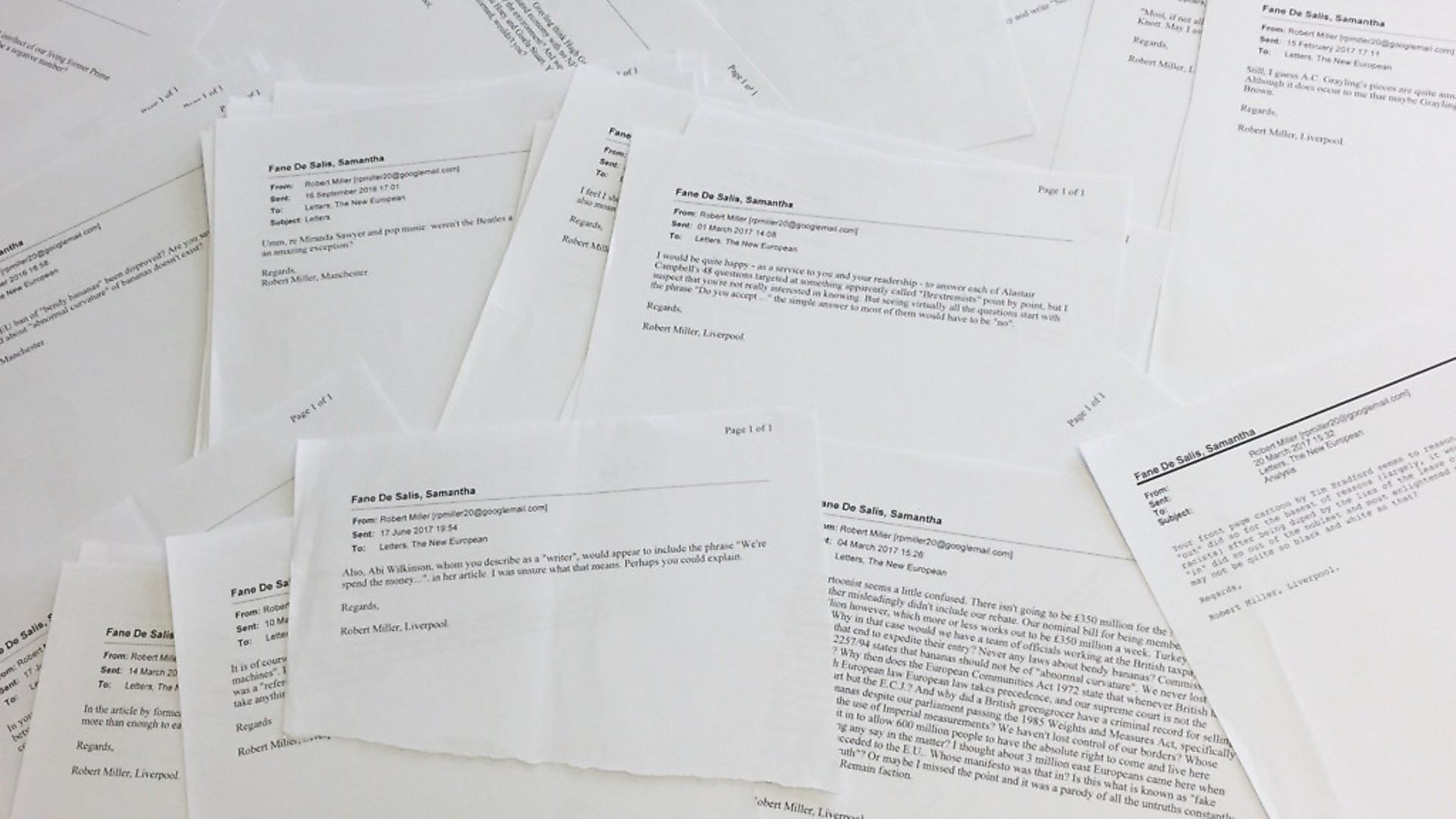 A selection of the many emails received by The New European from Robert Miller - Credit: Archant