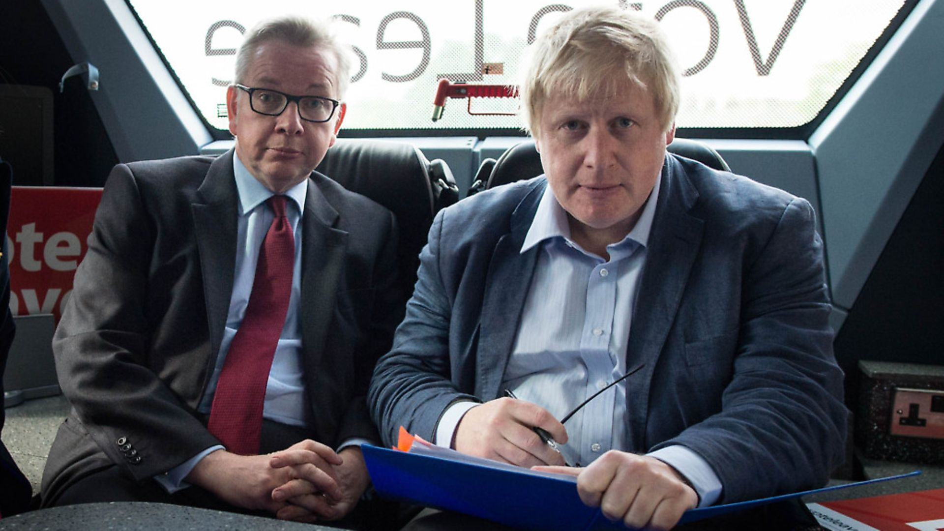 Michael Gove and Boris Johnson on the Vote Leave campaign bus. The two have recently rekindled their friendship. Photo: Stefan Rousseau - Credit: PA Wire/PA Images