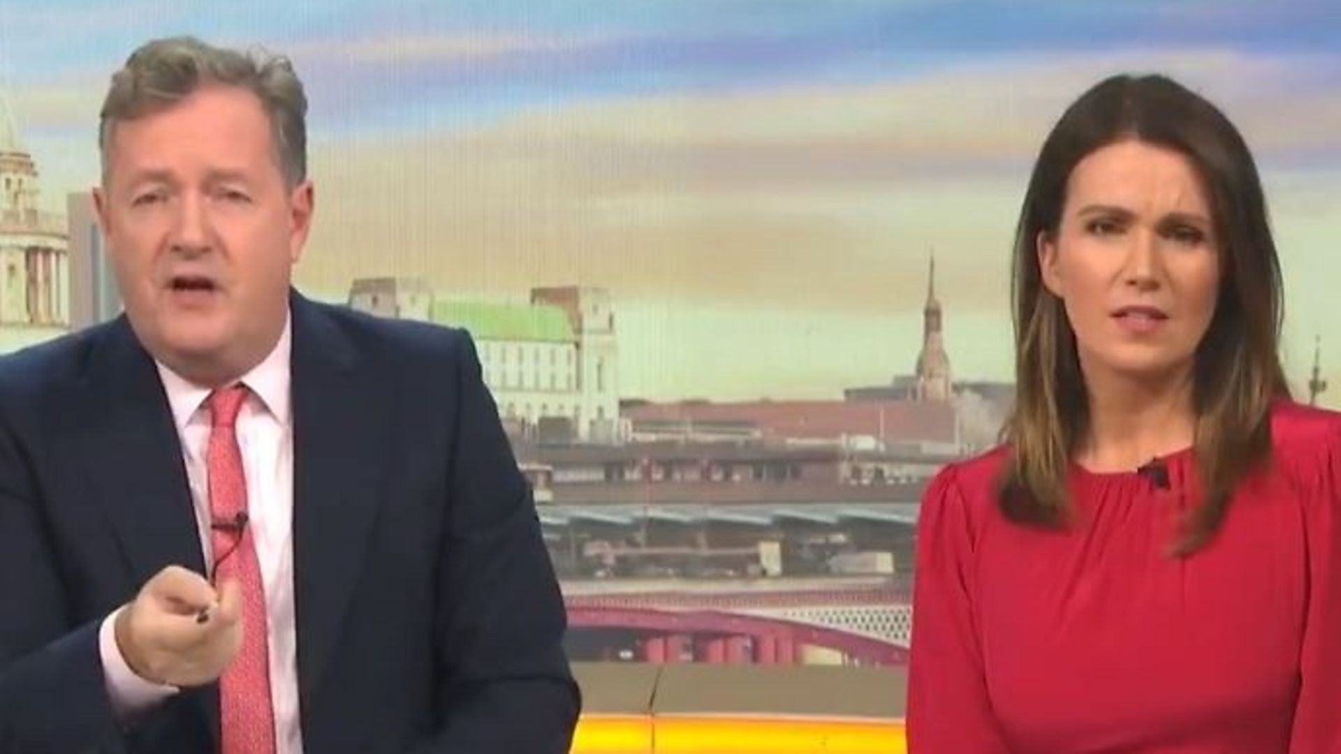 Piers Morgan and fellow co-host Susanna Reid on Good Morning Britain - Credit: Twitter