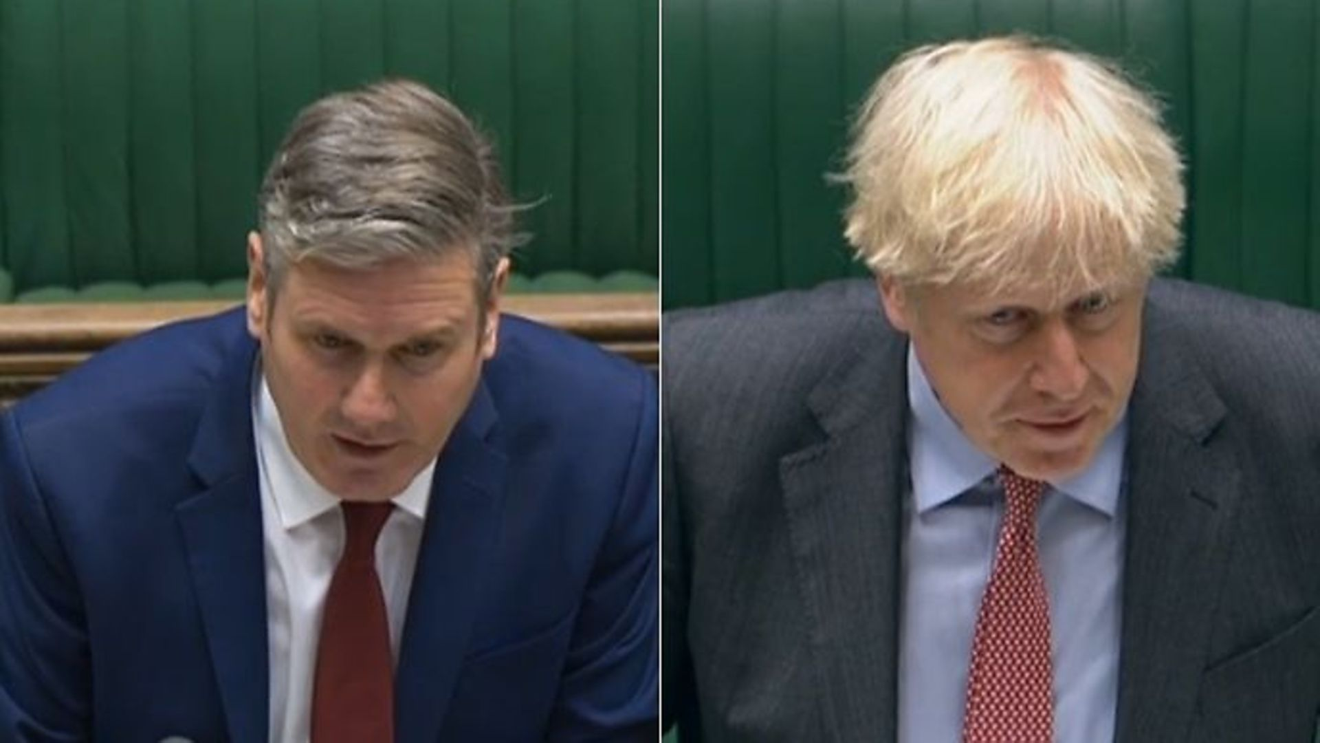 Opposition leader Sir Keir Starmer (L) and prime minister Boris Johnson in the House of Commons - Credit: parliamentlive.tv