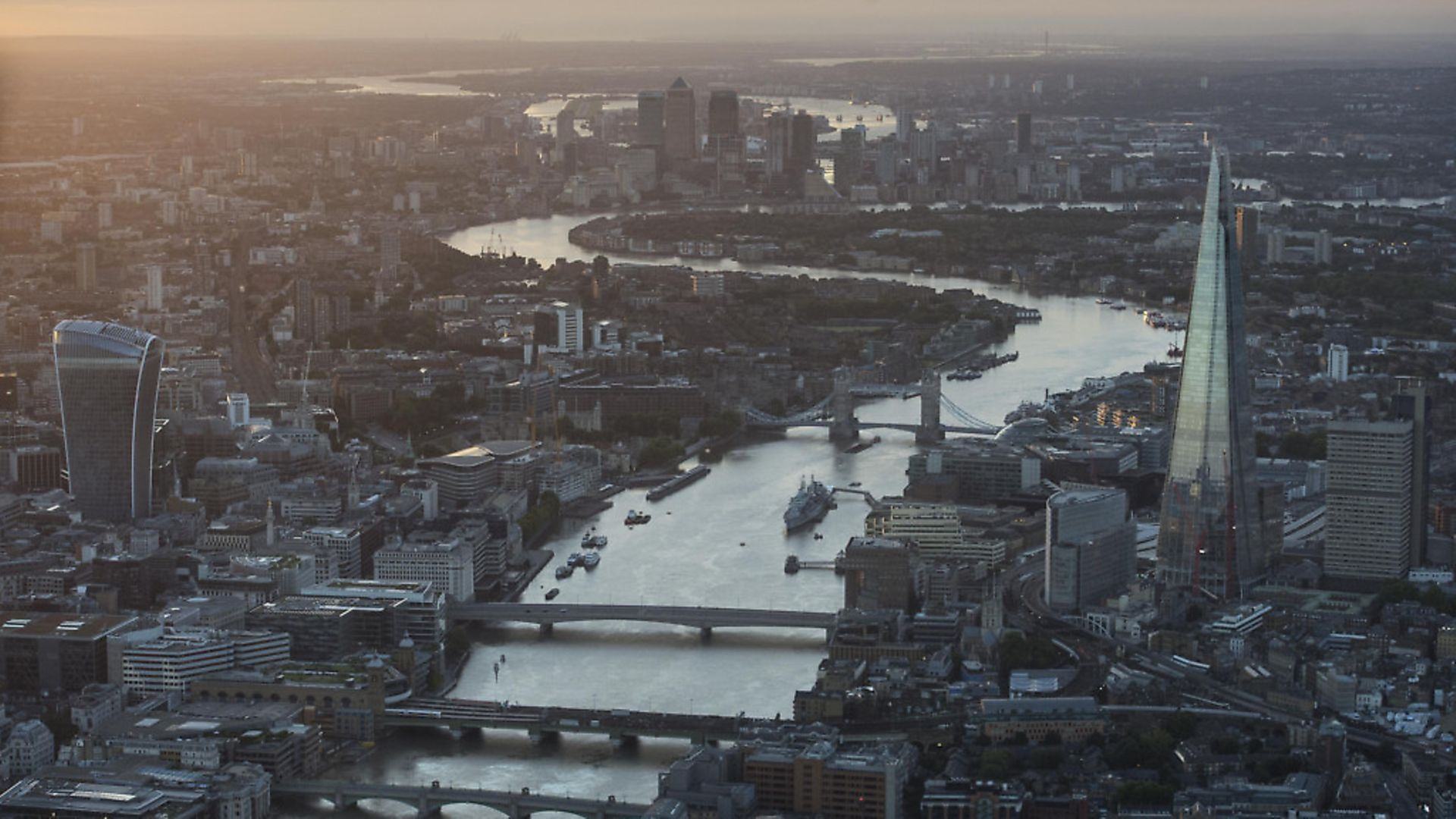 General aerial view of The Shard, Tower Bridge, 20 Fenchurch street, central London and Canary Wharf. Picture: PA - Credit: PA Wire/PA Images