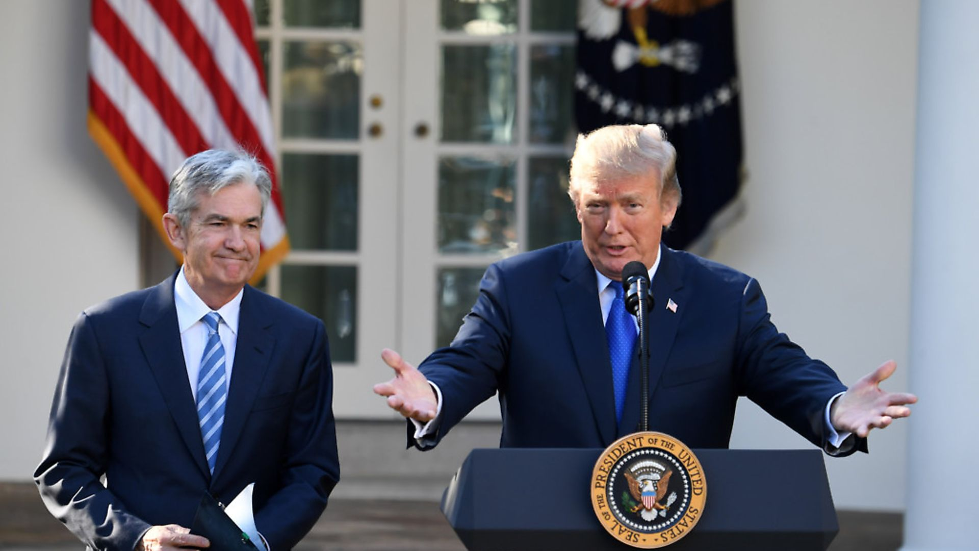 U.S. President Donald Trump (R) and Federal Reserve Governor Jerome Powell (Xinhua/Yin Bogu) - Credit: Xinhua News Agency/PA Images