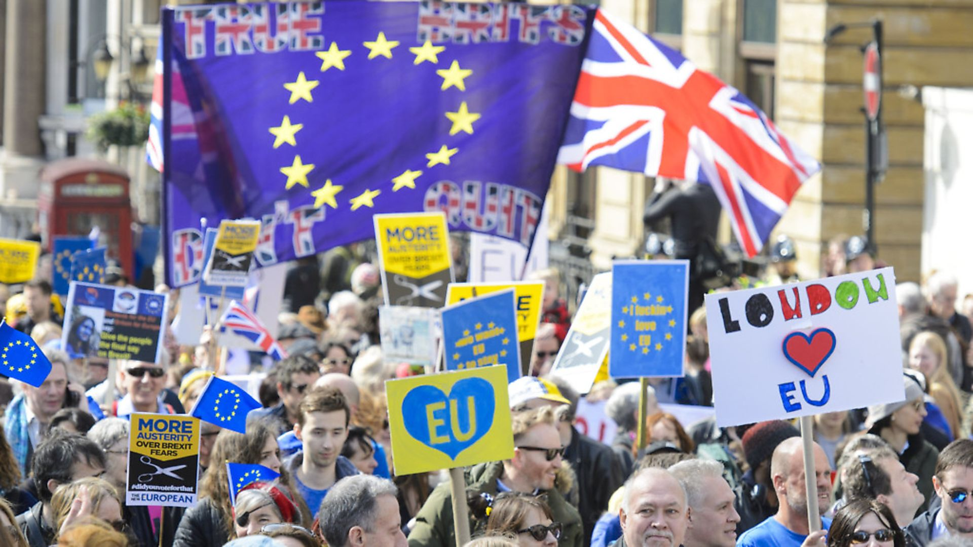 Protesters take part in a March for Europe rally against Brexit. Photograph: Matt Crossick/ EMPICS Entertainment. - Credit: Empics Entertainment