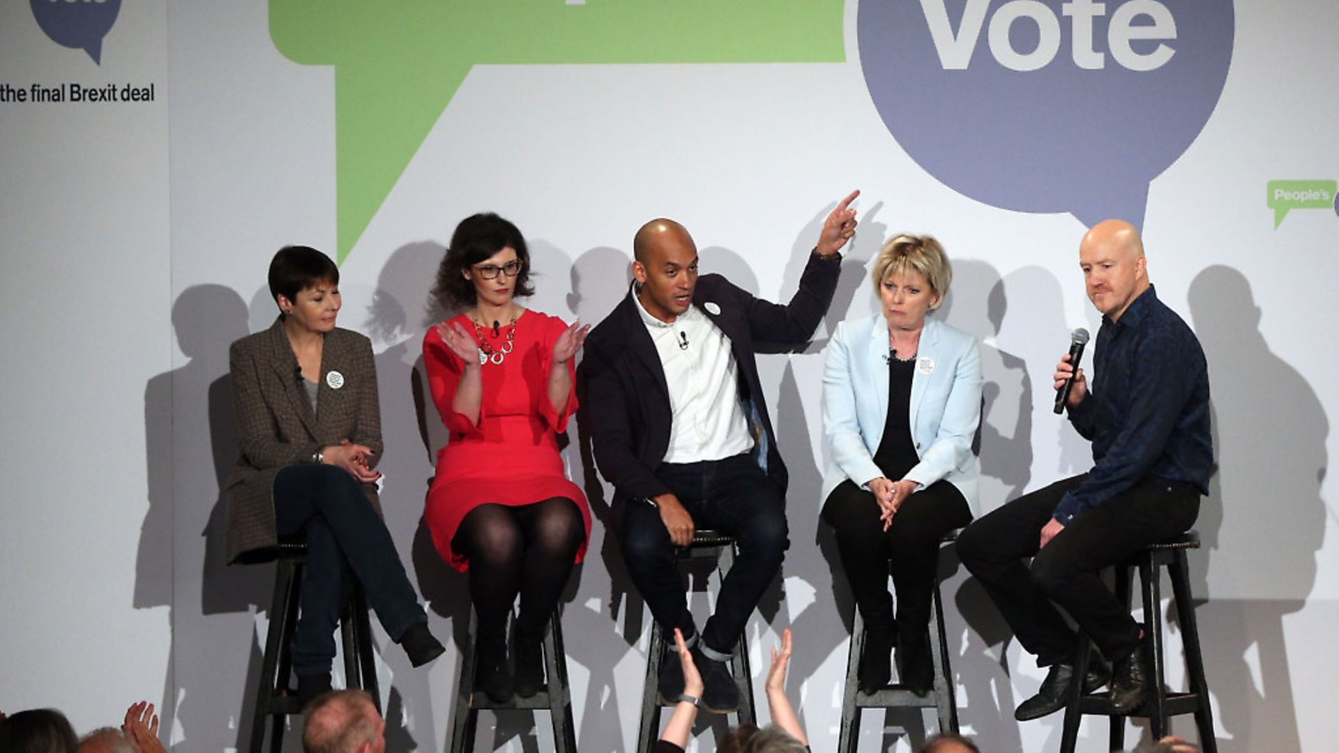 Politicians Caroline Lucas, left, Layla Moran, Chuka Umunna, and Anna Soubry are joined onstage by comedian Andy Parsons, right, during the People's Vote campaign launch on Brexit at the Electric Ballroom in Camden Town. Photo: Jonathan Brady/PA Wire - Credit: PA