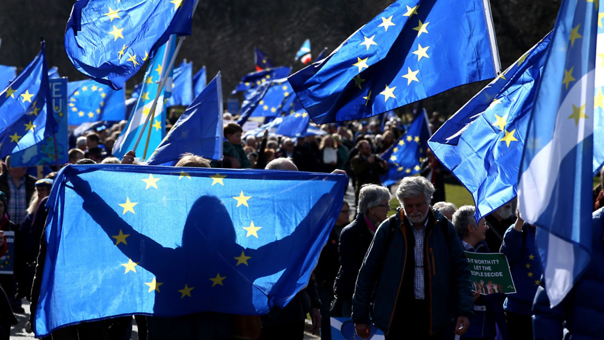 Anti-Brexit campaigners protesting in Edinburgh. Photograph: Jane Barlow/PA Wire - Credit: PA