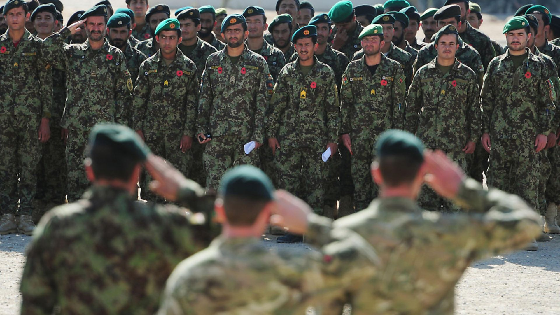 British and Afghan troops standing side by side at Camp Shorabak, Helmand Province in Afghanistan to mark Remembrance together for the first time during a special parade. - Credit: PA Archive/PA Images