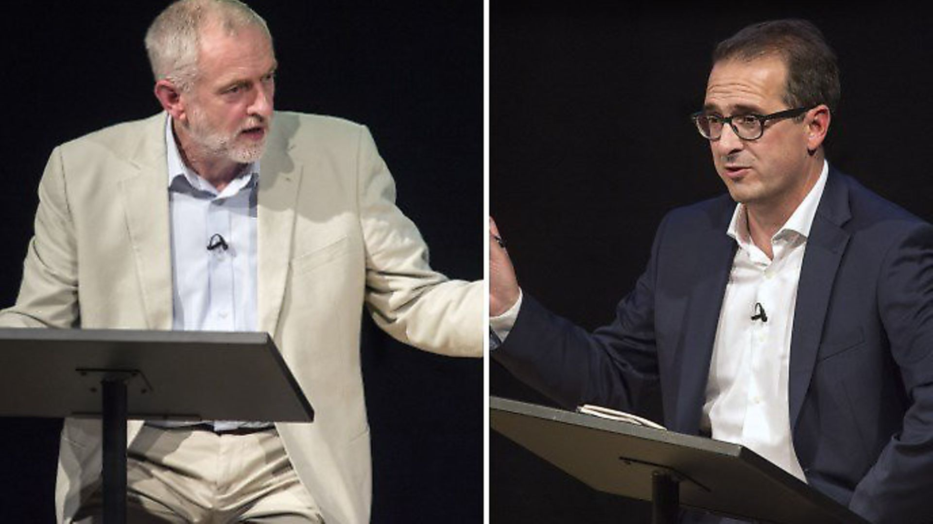Labour leadership candidates Jeremy Corbyn and Owen Smith in 2016. Photographs: John MacDonald-Fulton. - Credit: Archant
