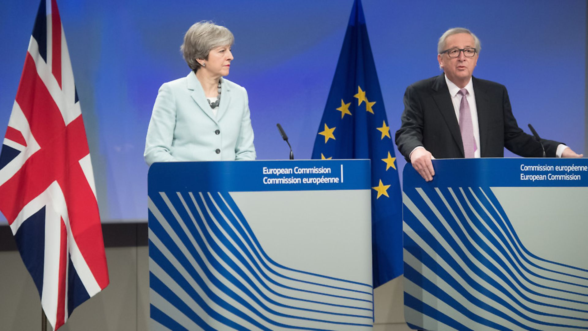 European Commission President Jean-Claude Juncker (R) and British Prime Minister Theresa May. (Photograph: Xinhua/The European Union) - Credit: Xinhua News Agency/PA Images
