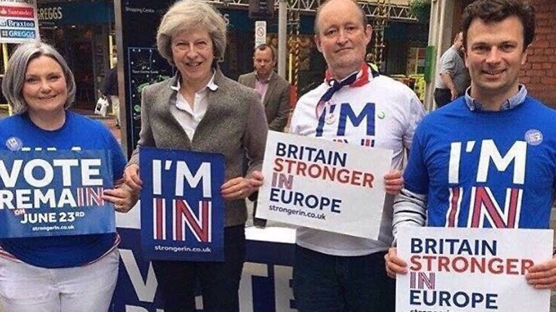 Theresa May campaigning to Remain in the EU referendum. Photograph: Twitter. - Credit: Archant