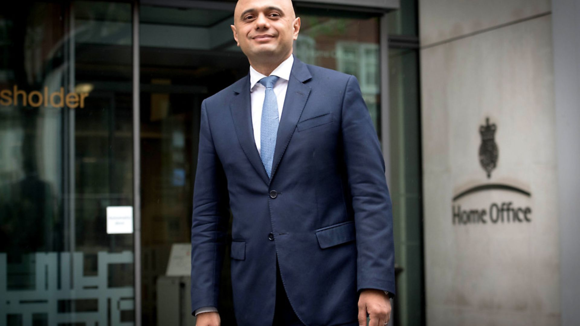 Sajid Javid outside the Home Office in Westminster, London, after he was appointed as the new Home Secretary. Photograph: Stefan Rousseau/PA. - Credit: PA Wire/PA Images