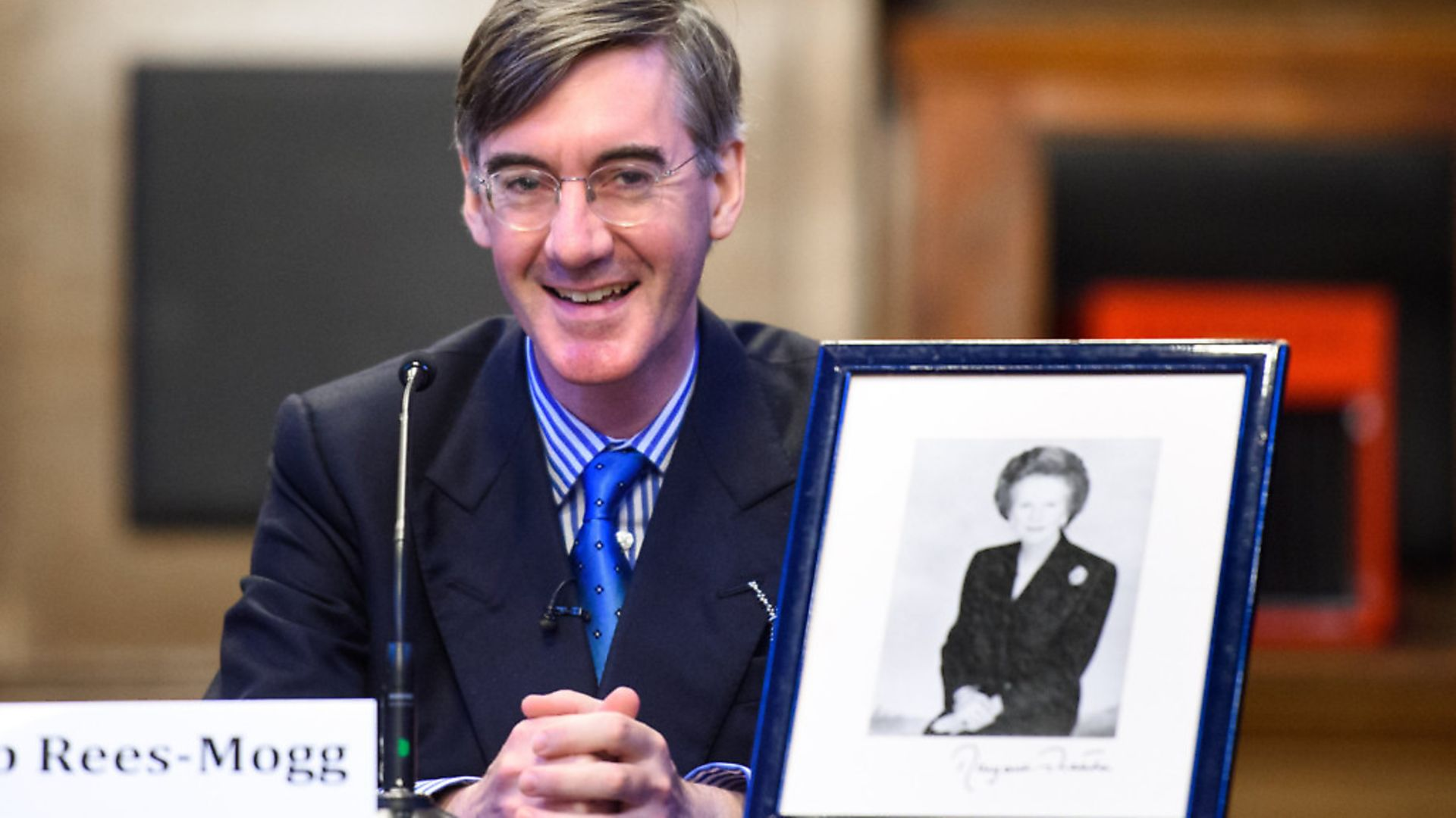 Jacob Rees-Mogg pictured at a fringe meeting at Manchester Town Hall, called 'Brexit with Jacob Rees-Mogg', held by the Bruges Group as part of the Conservative Party Conference in Manchester. Picture date: 2 October, 2017. Photograph: Matt Crossick/EMPICS Entertainment. - Credit: Empics Entertainment