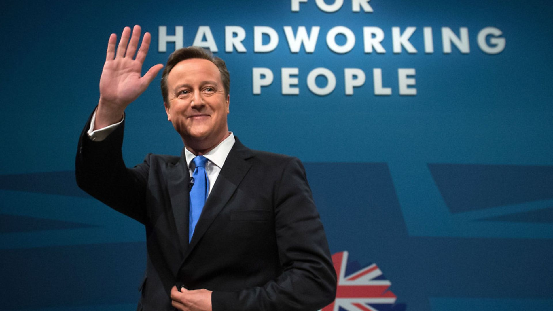 Prime Minister David Cameron waves after making his keynote speech on the final day of the Conservative Party Conference at Manchester Central in Manchester. - Credit: PA Archive/PA Images