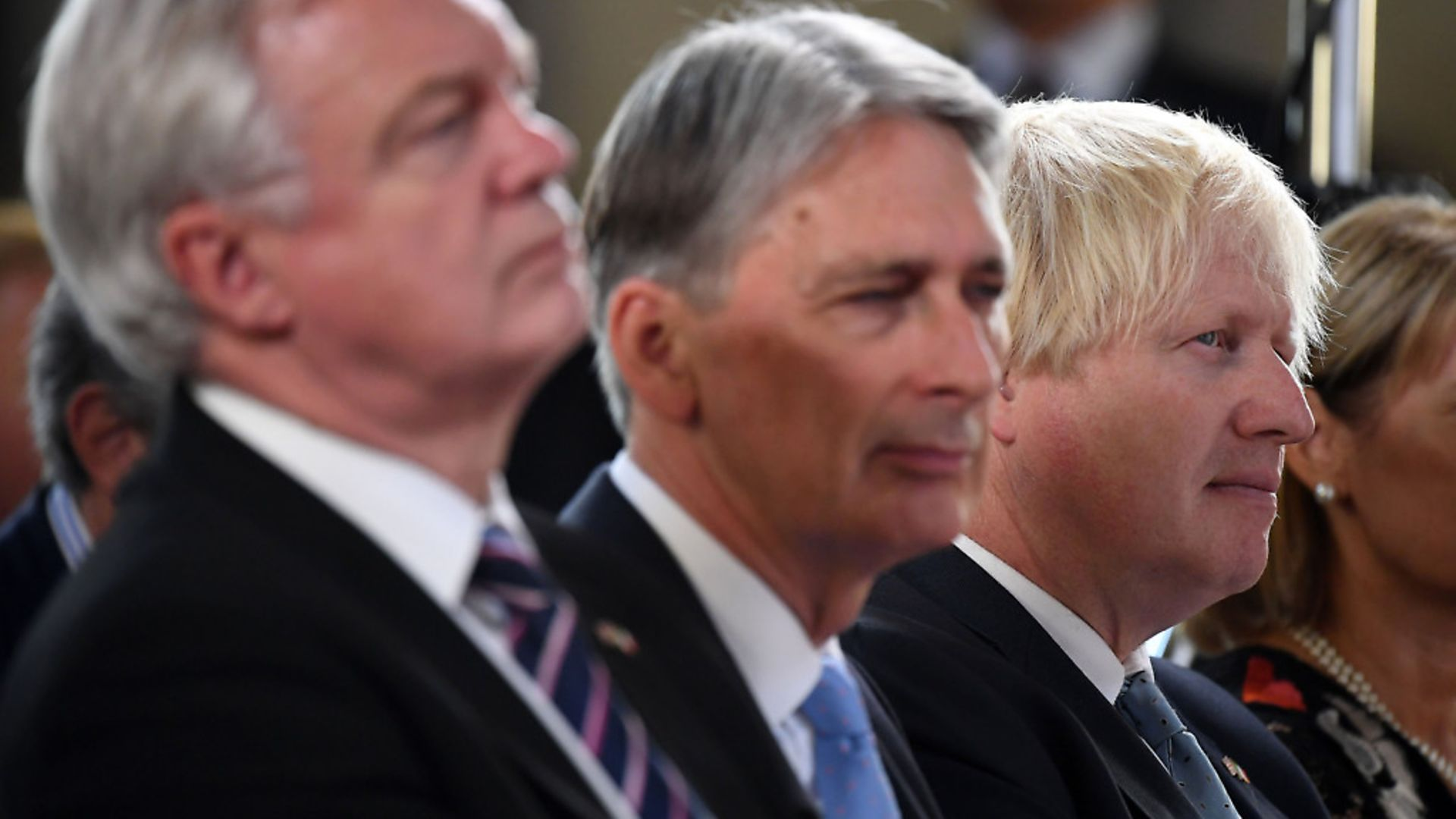 Brexit Secretary David Davis, Chancellor Philip Hammond and Foreign Secretary Boris Johnson listen as Prime Minister Theresa May speaks in Florence, Italy. Photograph: Jeff J Mitchell/PA. - Credit: PA Wire/PA Images