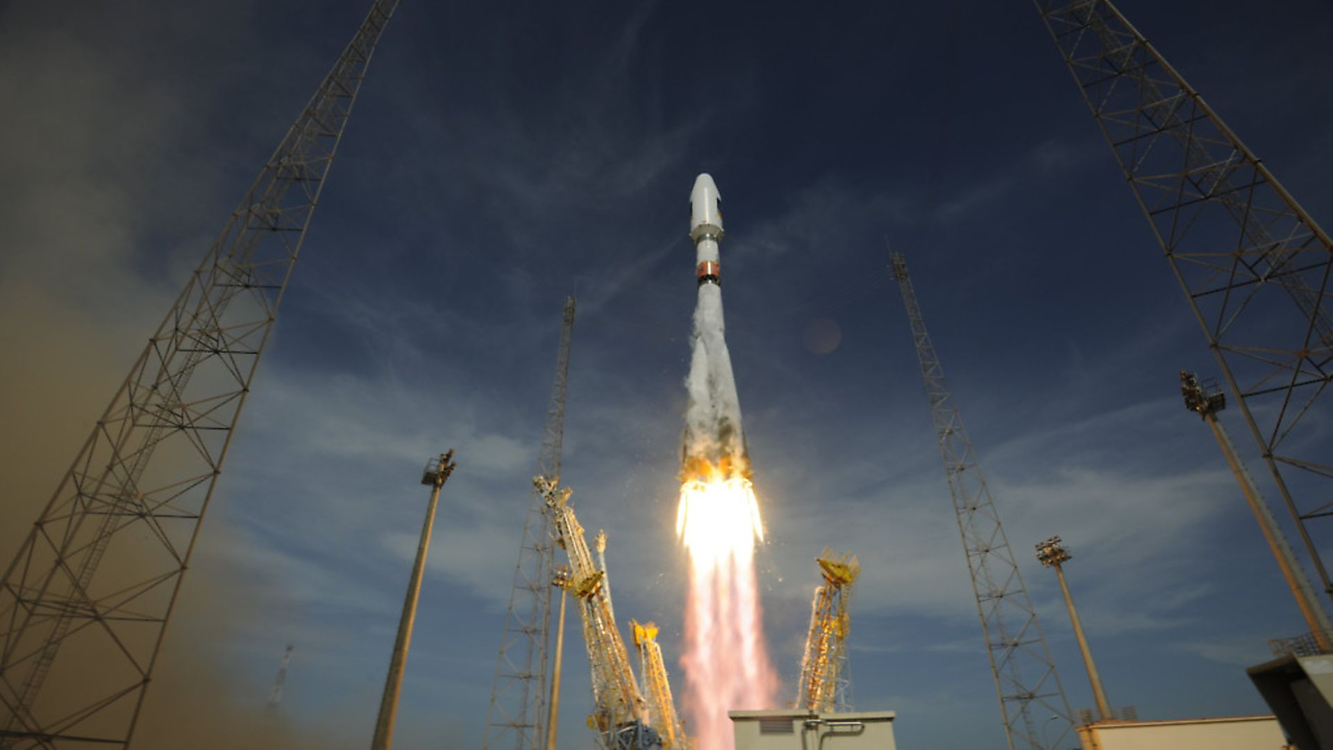 Second Galileo IOV launch on carrying the second two Galileo In-Orbit Validation satellites FM3 and FM4, by Soyuz from French Guiana. Photo: ESA - Credit: Archant