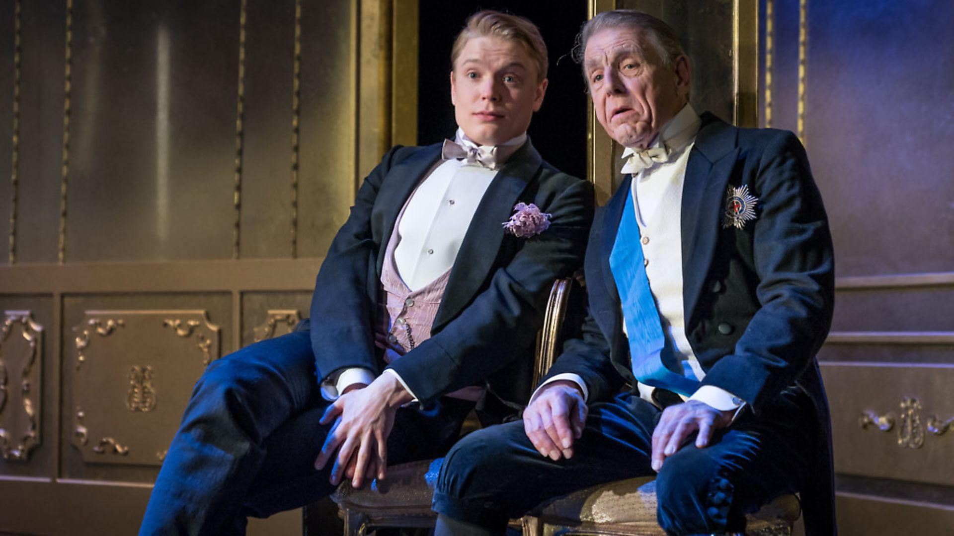 Edward Fox as Lord Caversham and Freddie Fox as Lord Goring in An Ideal Husband. Photo: Contributed. - Credit: Archant