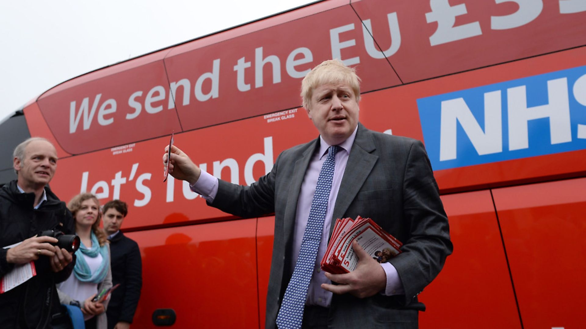 Boris Johnson before he boards the Vote Leave campaign bus in Truro, Cornwall. Photograph: Stefan Rousseau/PA. - Credit: PA Archive/PA Images