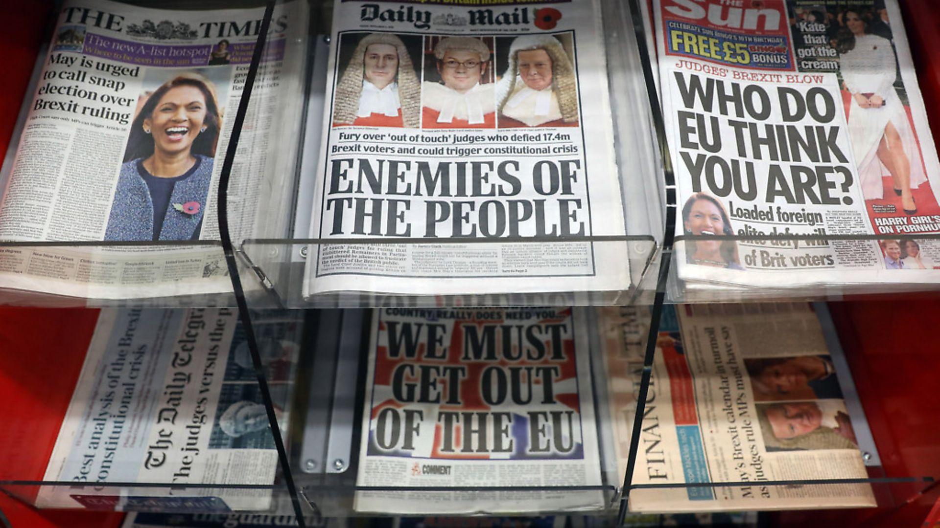 Pro-Brexit national newspapers lambast High Court judges. Photographer: Chris Ratcliffe/Bloomberg via Getty Images - Credit: Bloomberg via Getty Images