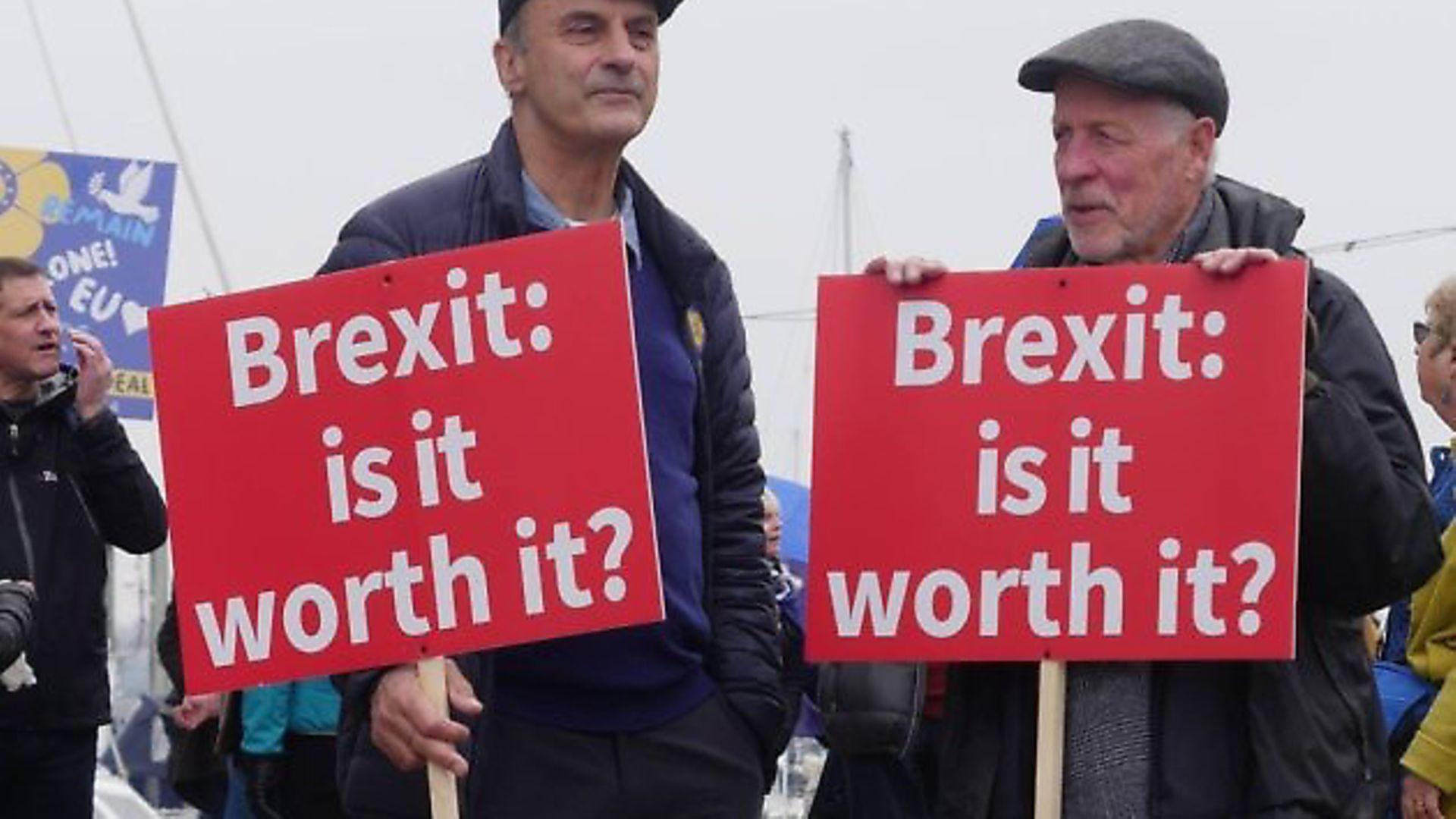 Campaigners against the EU in Ipswich. Photograph: Vivien Collins - Credit: Archant