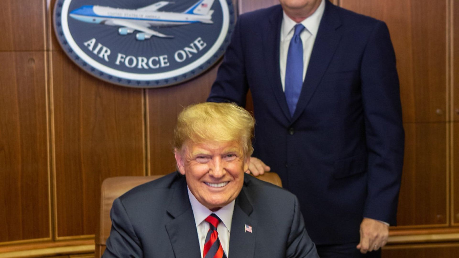 Piers Morgan with Donald Trump on Air Force One. Picture: Contributed - Credit: Archant