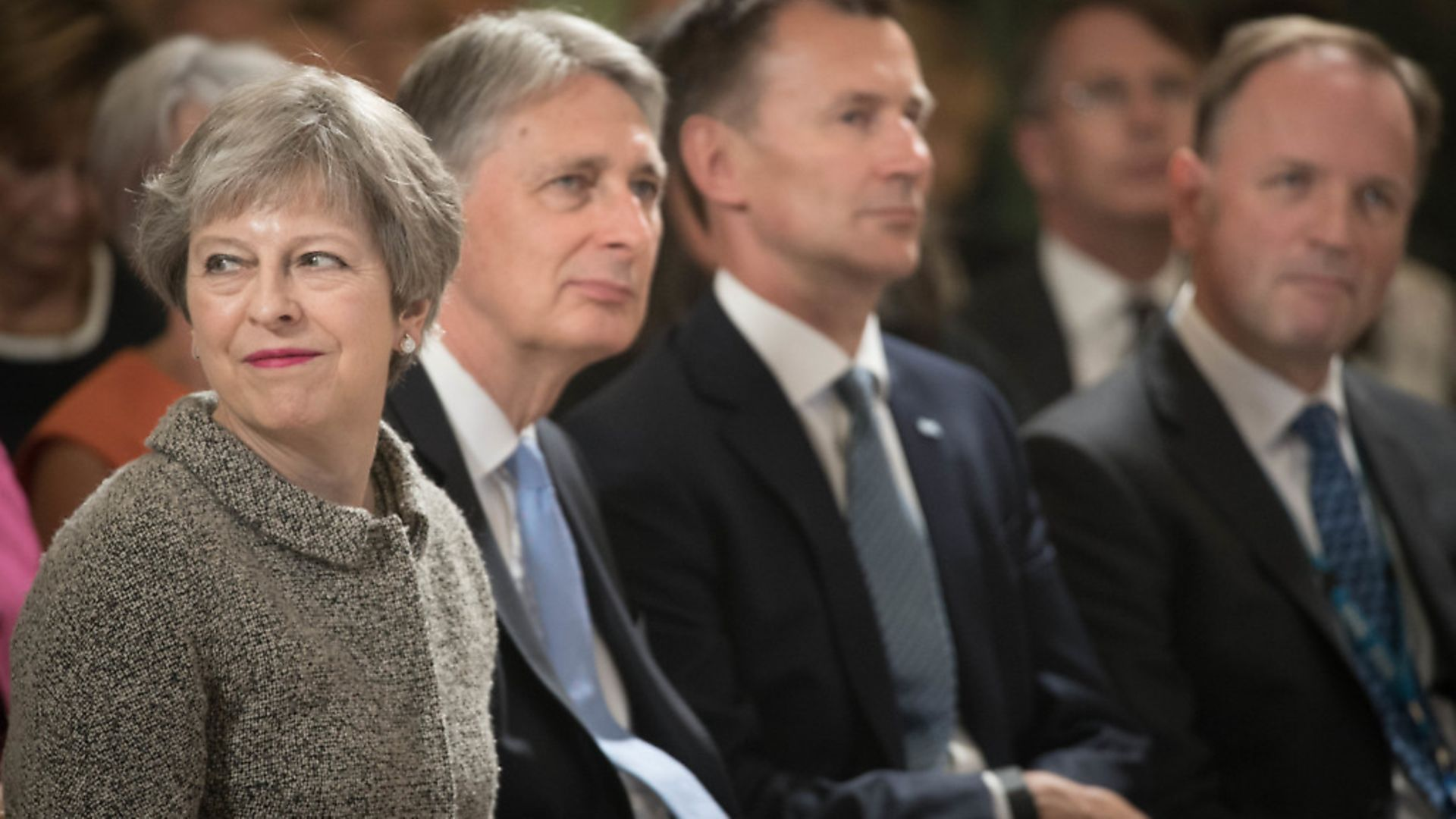 Prime Minister Theresa May, Chancellor Philip Hammond, Health Secretary Jeremy Hunt and NHS Chief Executive Simon Stevens at the Royal Free Hospital in north London. Photograph: Stefan Rousseau/PA Wire - Credit: PA
