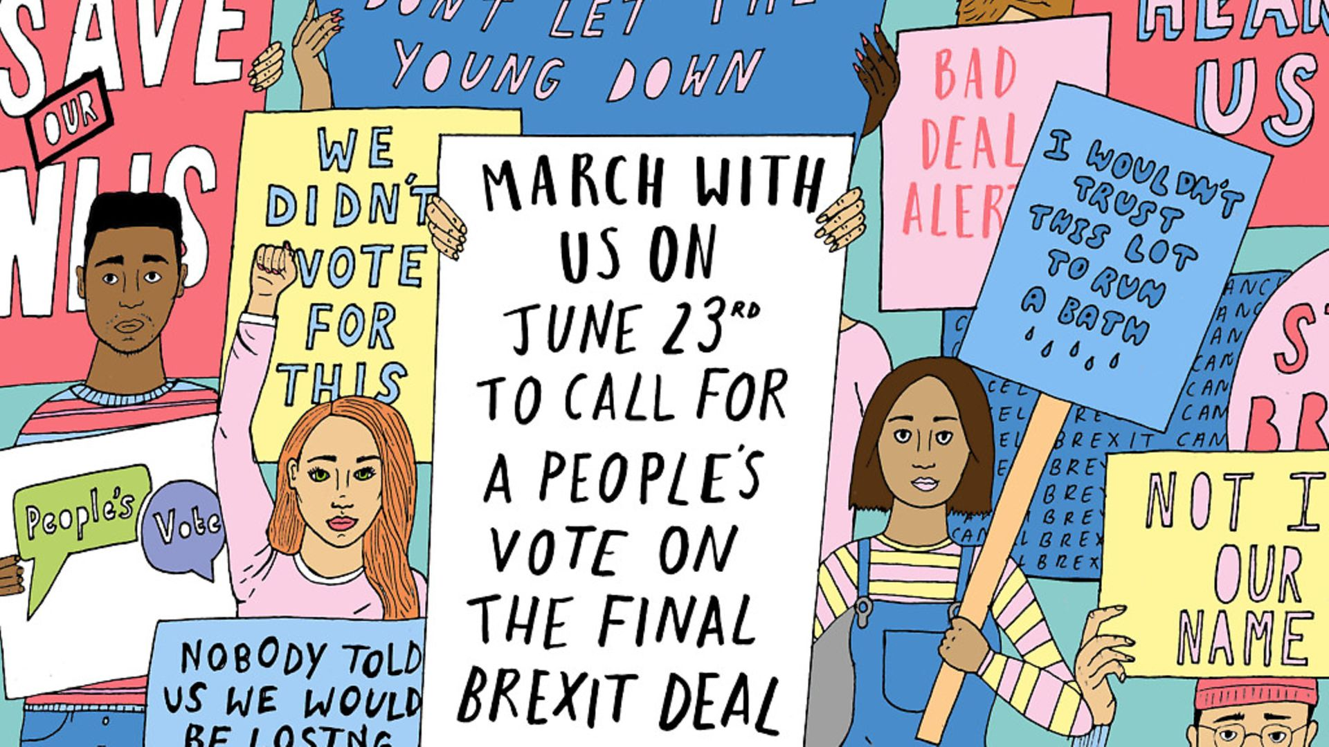 Campaigners will be marching for a People's Vote on Saturday 23rd June 2018. Illustration: Alice Skinner. - Credit: Archant
