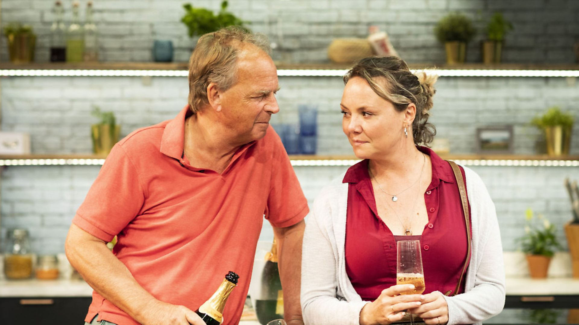 Charlie Brooks and Janie Dee in Monogamy at the Park Theatre - Credit: Helen Maybanks