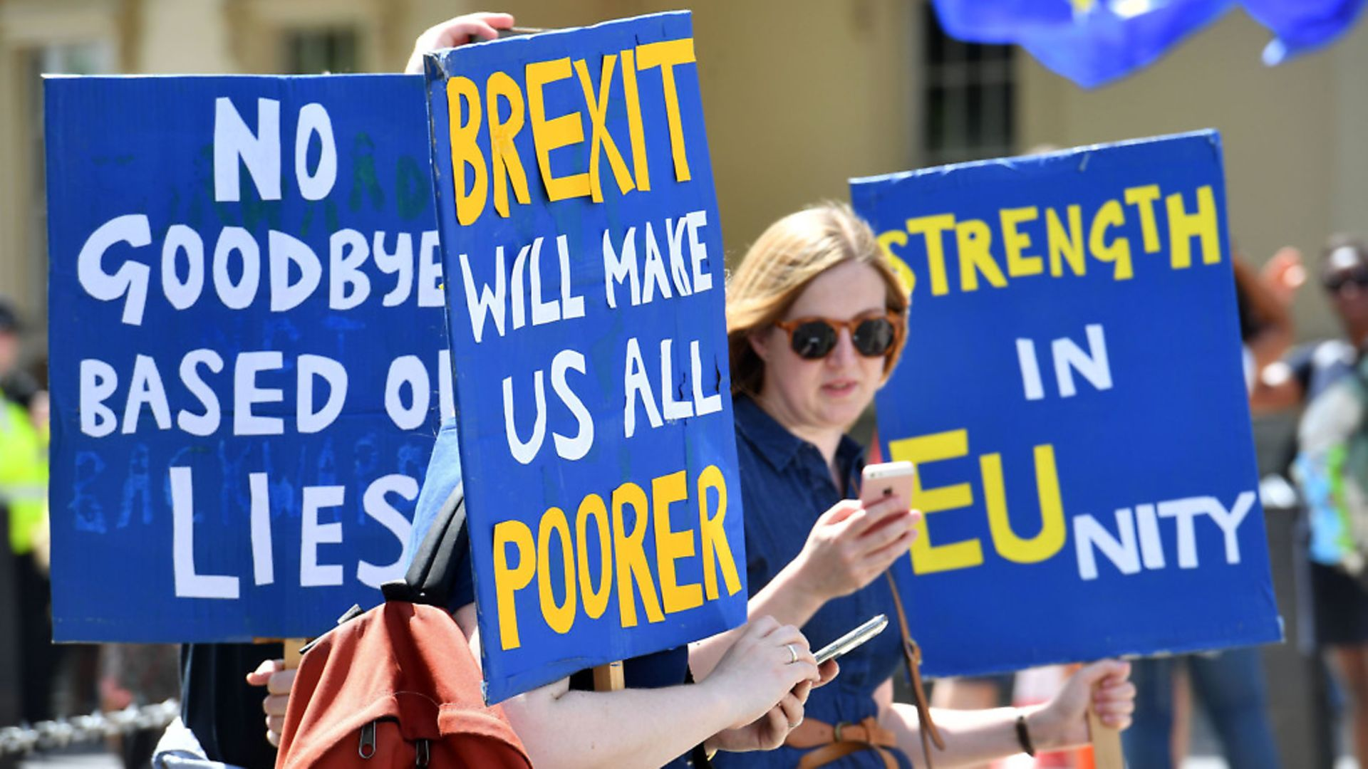 Crowds gather on Pall Mall in central London, during the People's Vote march for a second EU referendum.  Photo: PA. - Credit: PA Wire/PA Images