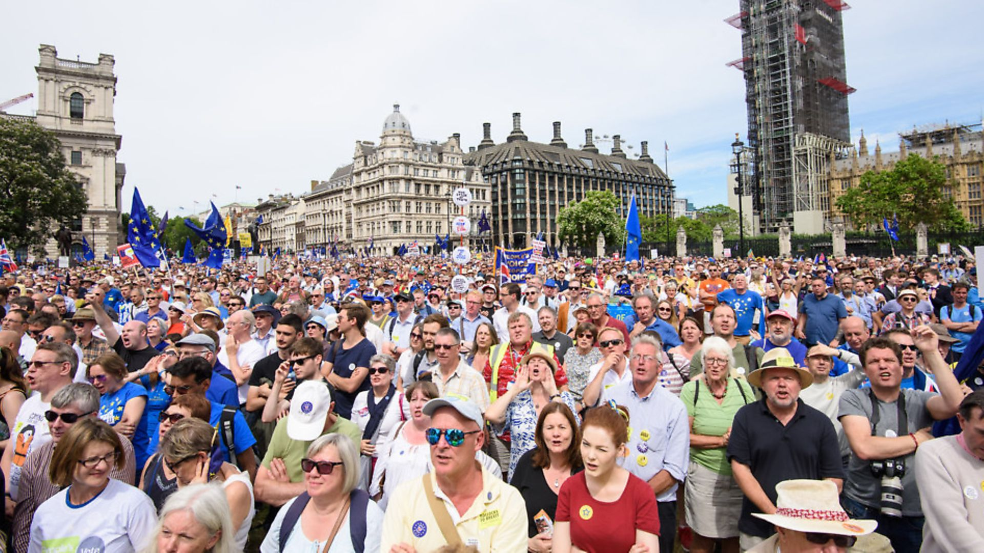 Anti-Brexit demonstrators fill Parliament Square in central London, during the People's Vote march, which called for a vote on the final Brexit deal. Photo: Matt Crossick/EMPICS Entertainment. - Credit: Empics Entertainment