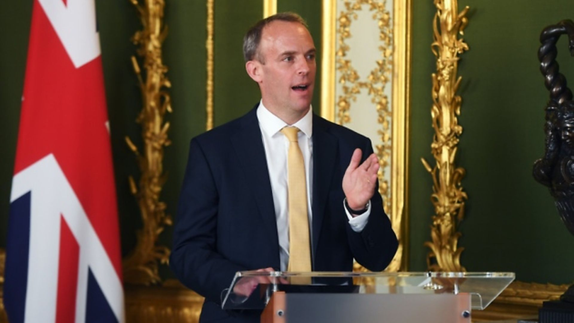 Foreign secretary Dominic Raab during a press conference. Photograph: Peter Summers/PA.
