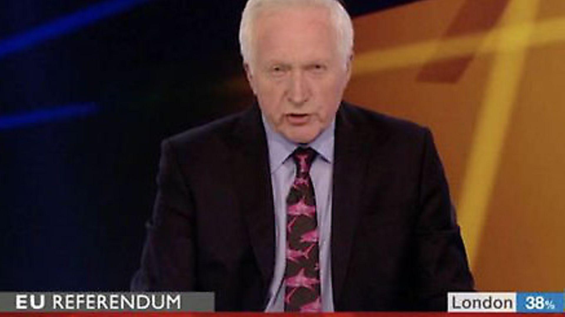 David Dimbleby announces the EU referendum result. Image: BBC News. - Credit: BBC