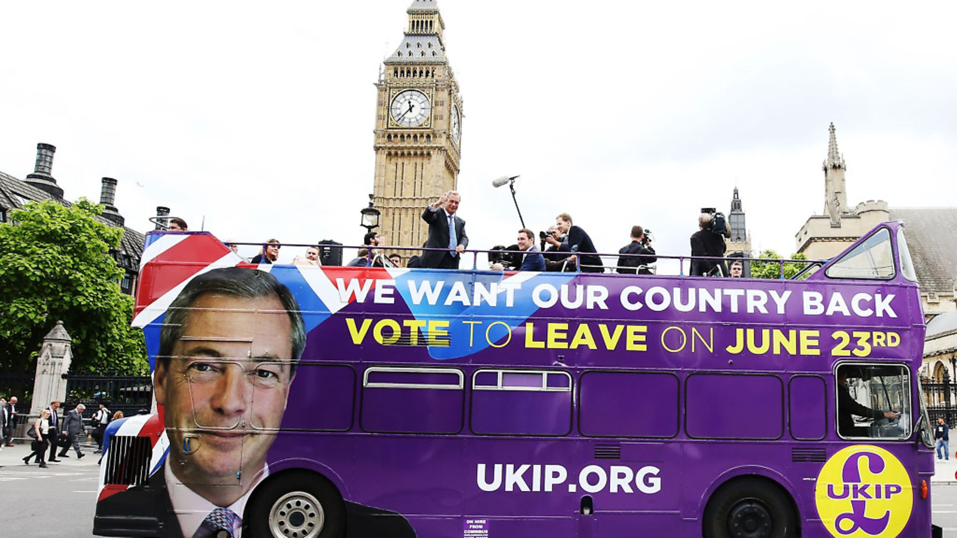 The then UKIP leader Nigel Farage passes the Houses of Parliament in London - Credit: PA Archive/PA Images