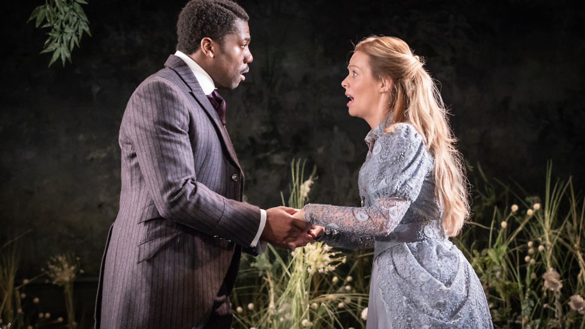 Fehinti Balogun as Algernon and Fiona Button as Cecily Cardew in The Importance of Being Earnest at the Vaudeville Theatre.  Picture: Marc Brenner - Credit: Archant