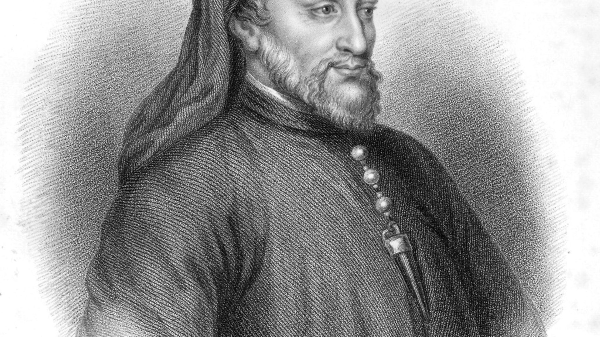 Illustrated portrait of English poet Geoffrey Chaucer, author of 'The Canterbury Tales'. (Photo by Archive Photos/Getty Images) - Credit: Getty Images
