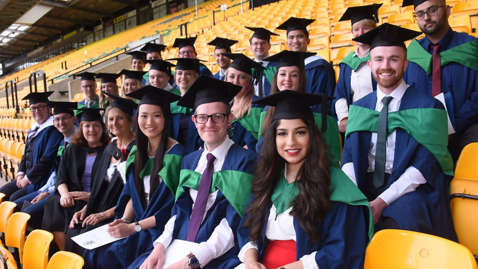 Some of the 2018 cohort of students graduating from university. Photograph: Denise Bradley. - Credit: Copyright: Archant 2018