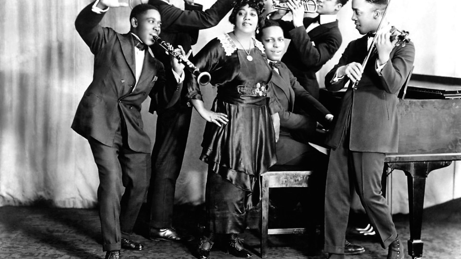 Mamie Smith and her Jazz Hounds (including Willie 'The Lion' Smith on piano) pose for a portrait circa 1920 in New York. Picture: Donaldson Collection/Getty Images - Credit: Getty Images