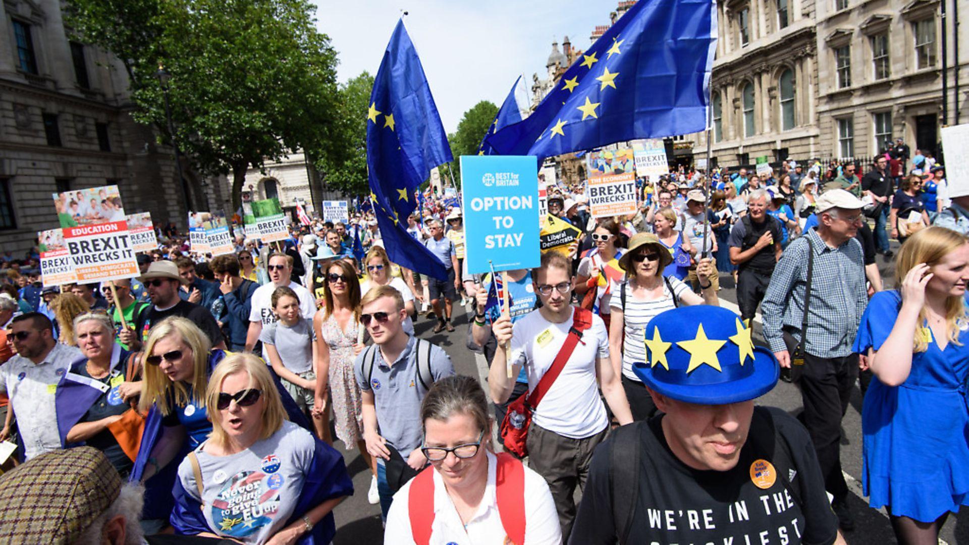 Anti-Brexit demonstrators fill Parliament Square in central London in June 2018. Photograph: Matt Crossick/EMPICS Entertainment. - Credit: Empics Entertainment