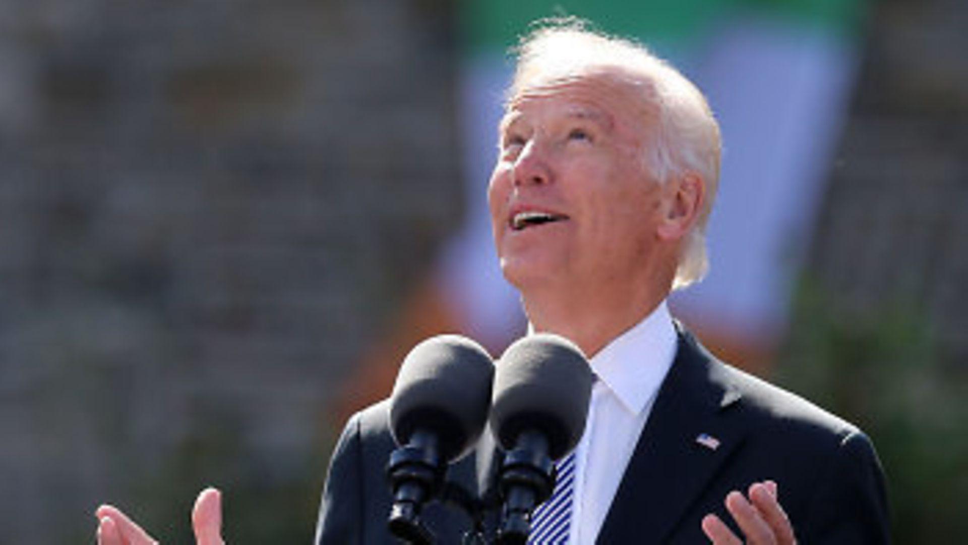Joe Biden delivers a speech - Credit: PA