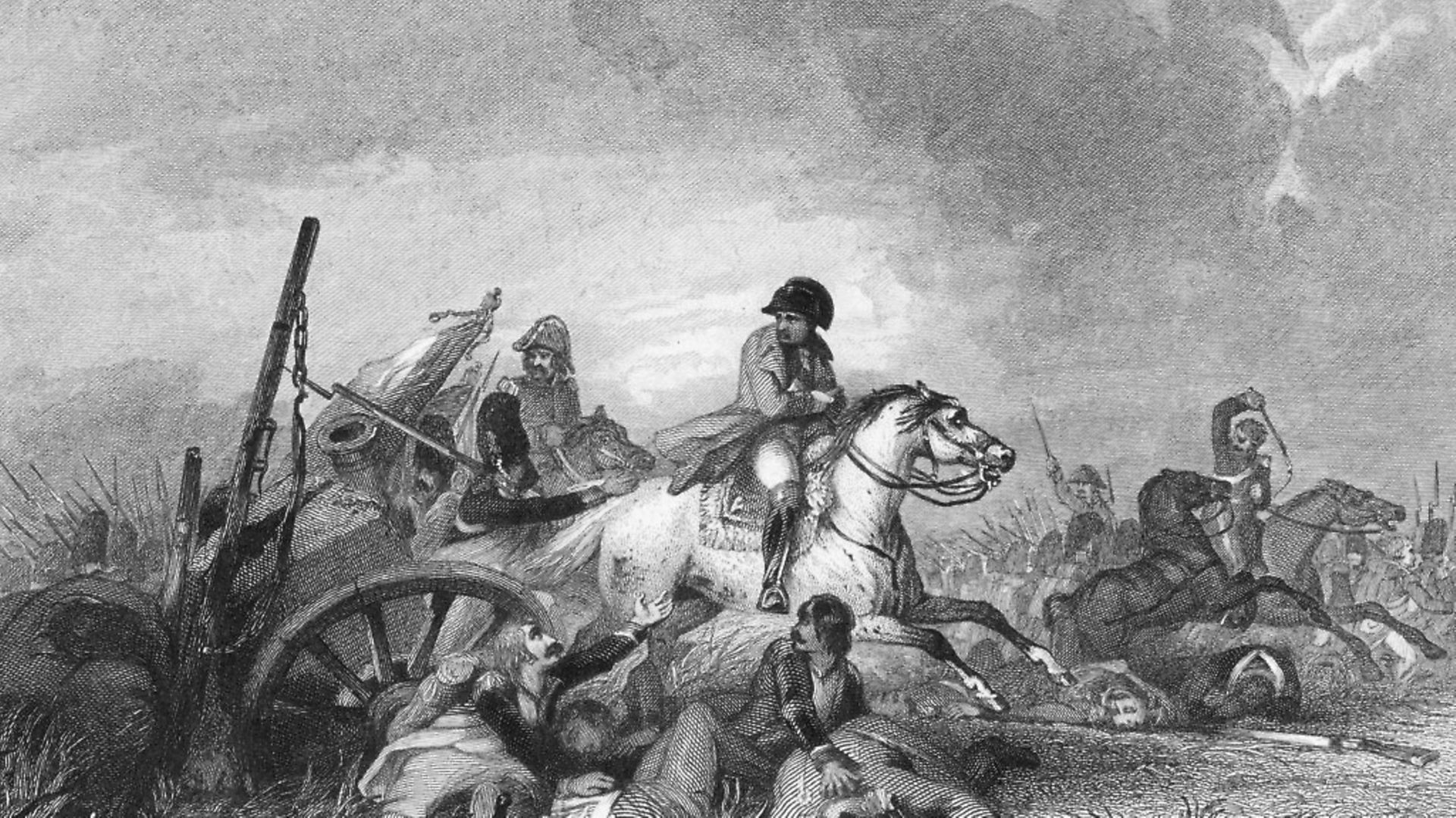 French Emperor Napoleon Bonaparte flees the pursuing allied troops after he is defeated at the Battle of Waterloo, 1815. An engraving from an original work by John Gilbert. Picture: Hulton Archive/Getty Images - Credit: Getty Images